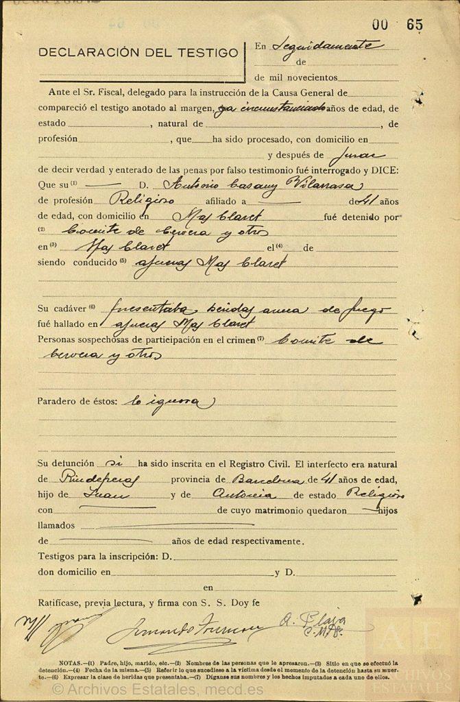 Declaración en la Causa general sobre el martirio del beato Antonio Casany.