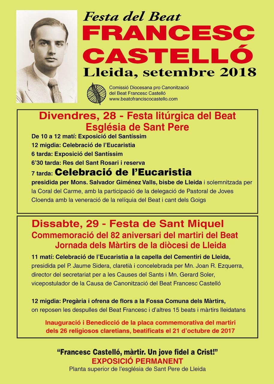 Jornada de los mártires en Lérida, 28 y 29 de septiembre de 2018.