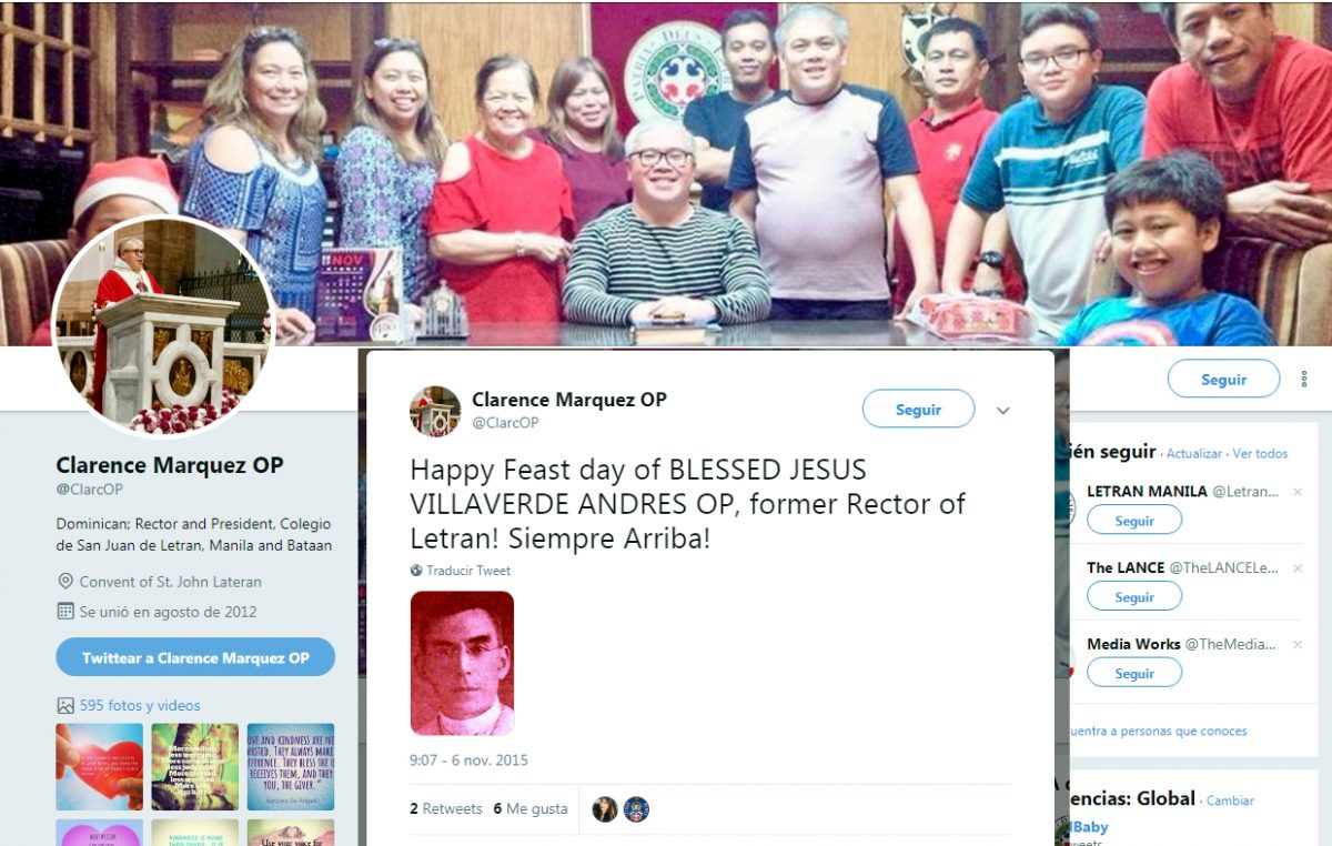 El rector del Colegio San Juan de Letrán celebra la fiesta del beato Villaverde.