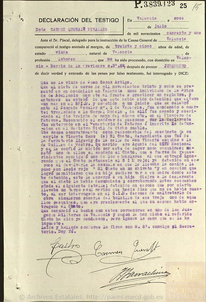 Testimonio sobre ejecuciones en el Picadero de Paterna.