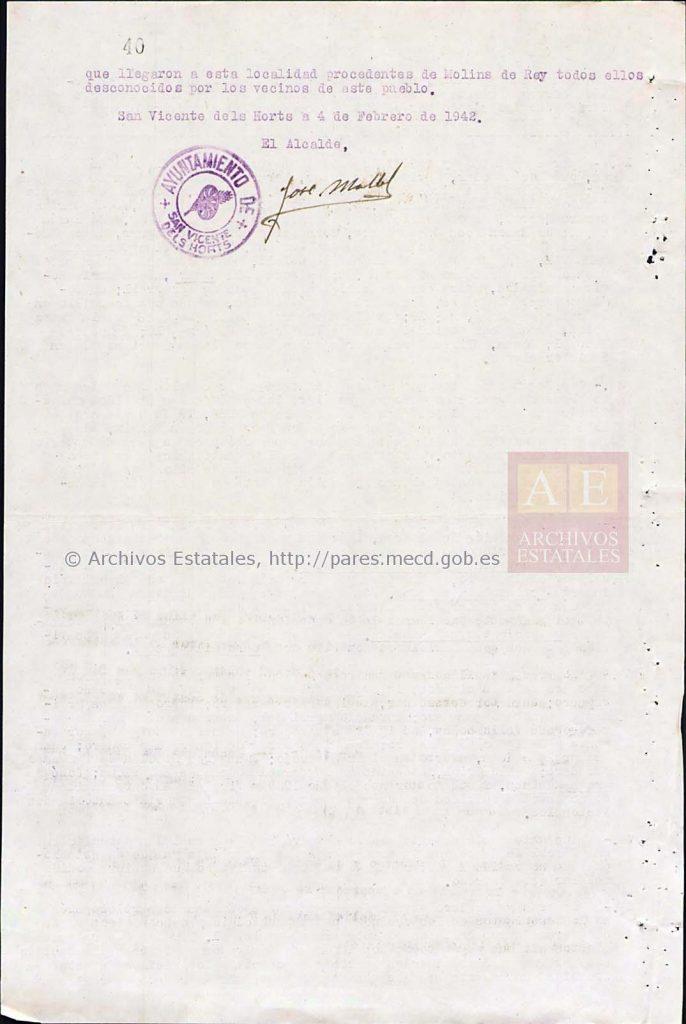 Folio 40, final de la declaración del alcalde.