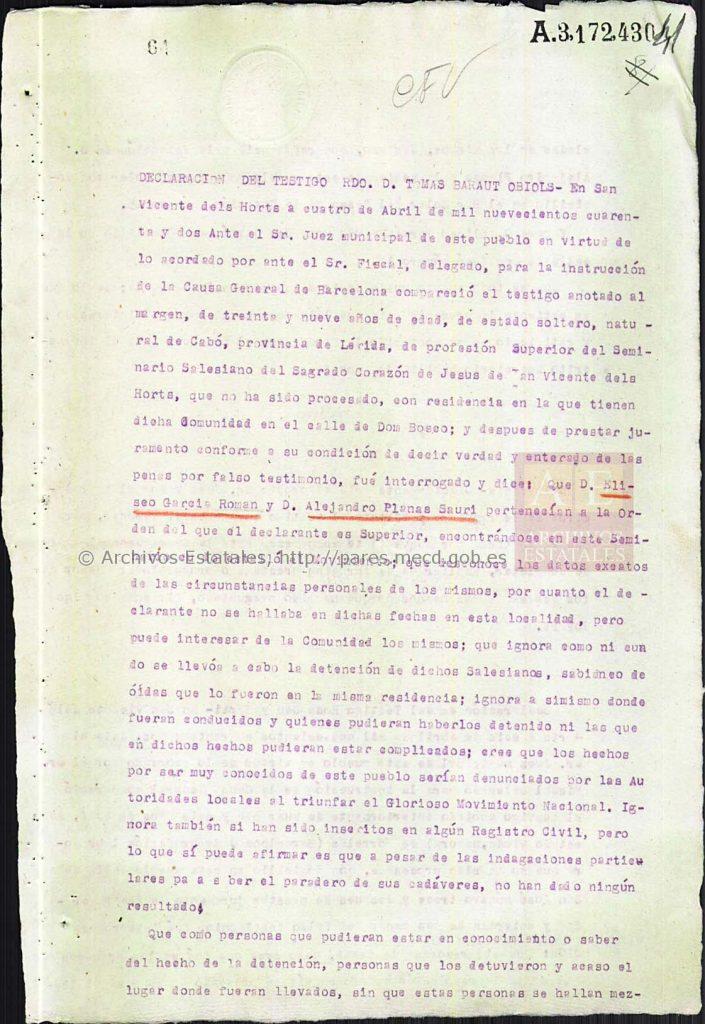 Declaración del superior del seminario salesiano de San Vicente.
