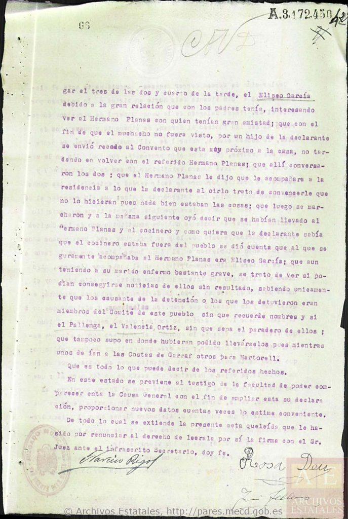 Declaración de la testigo Rosa Deu (final).