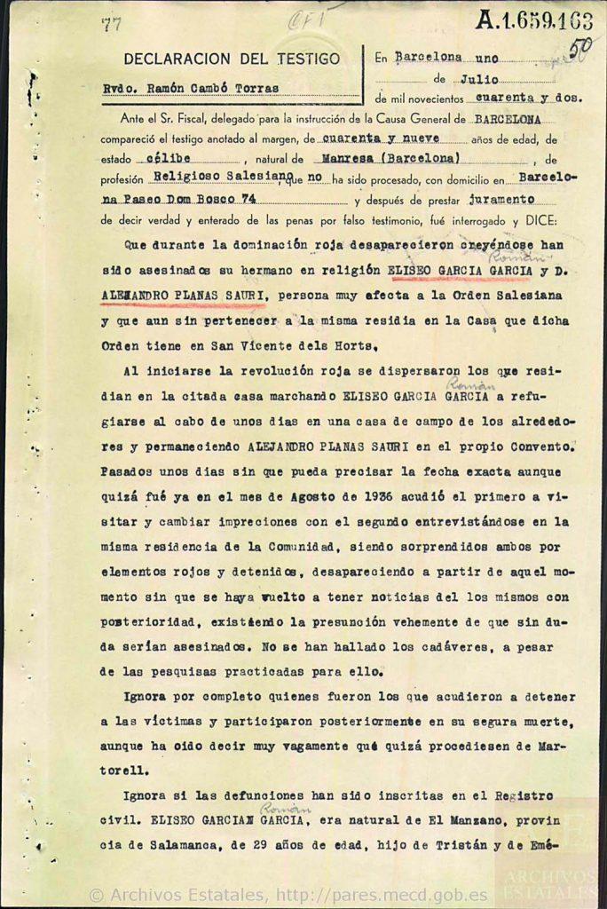 Declaración de Ramón Cambó.