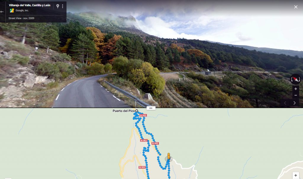 Desvío hacia Villarejo bajando el Puerto del Pico, donde martirizaron al beato Damián Gómez.