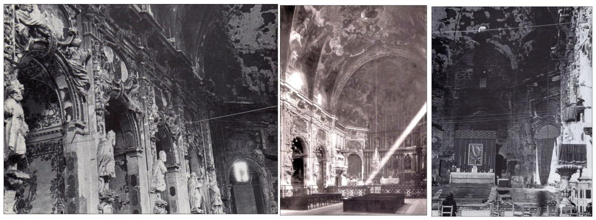 La iglesia de los Santos Juanes en Valencia antes (centro) y después de ser quemada por los revolucionarios.