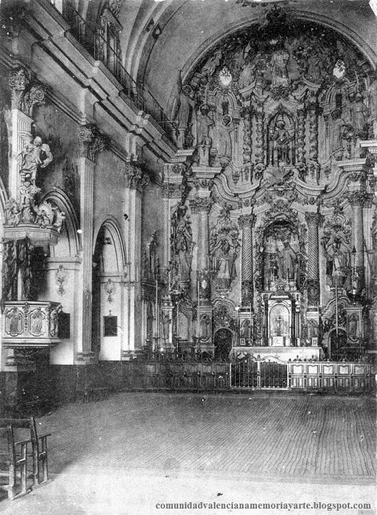 Alcoy. Interior de la iglesia de San Mauro y San Francisco a principios del siglo XX