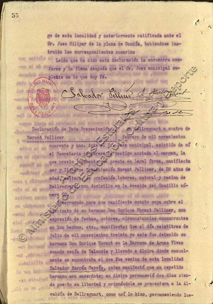 Inicio de la declaración de Presentación Morant sobre el martirio de su hermano Enrique.