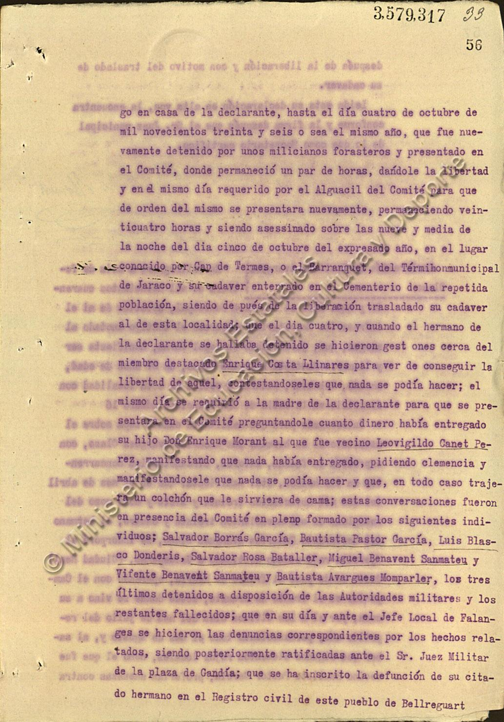 Declaración de Presentación Morant sobre el martirio de su hermano Enrique.