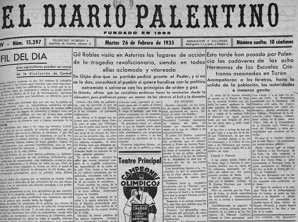 Paso por Palencia de los mártires de Turón.
