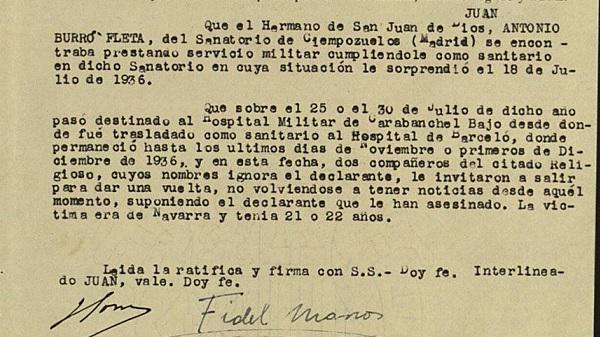 Declaración sobre el martirio del beato Juan Antonio Burró.