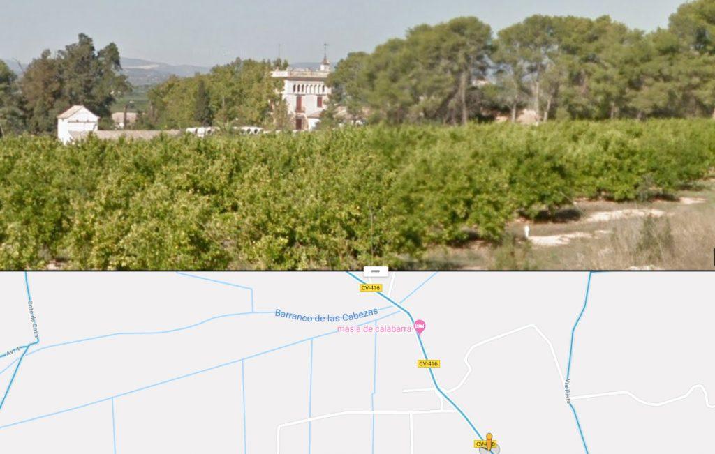 La Masía de Calabarra en Google Maps.