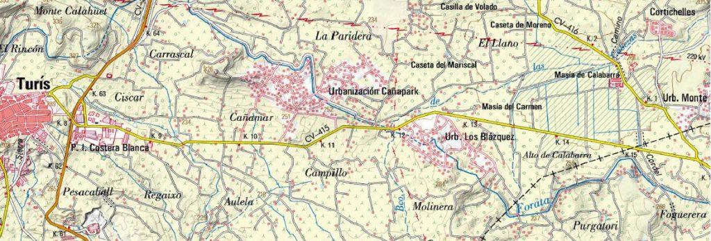 Trayecto entre Turís y la Masía de Calabarra.