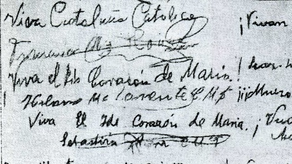 Viva Cataluña católica, escribió al despedirse uno de los mártires.