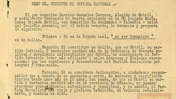 Denuncia del exalcalde de Motril sobre lo que consideraba traición de los comunistas.