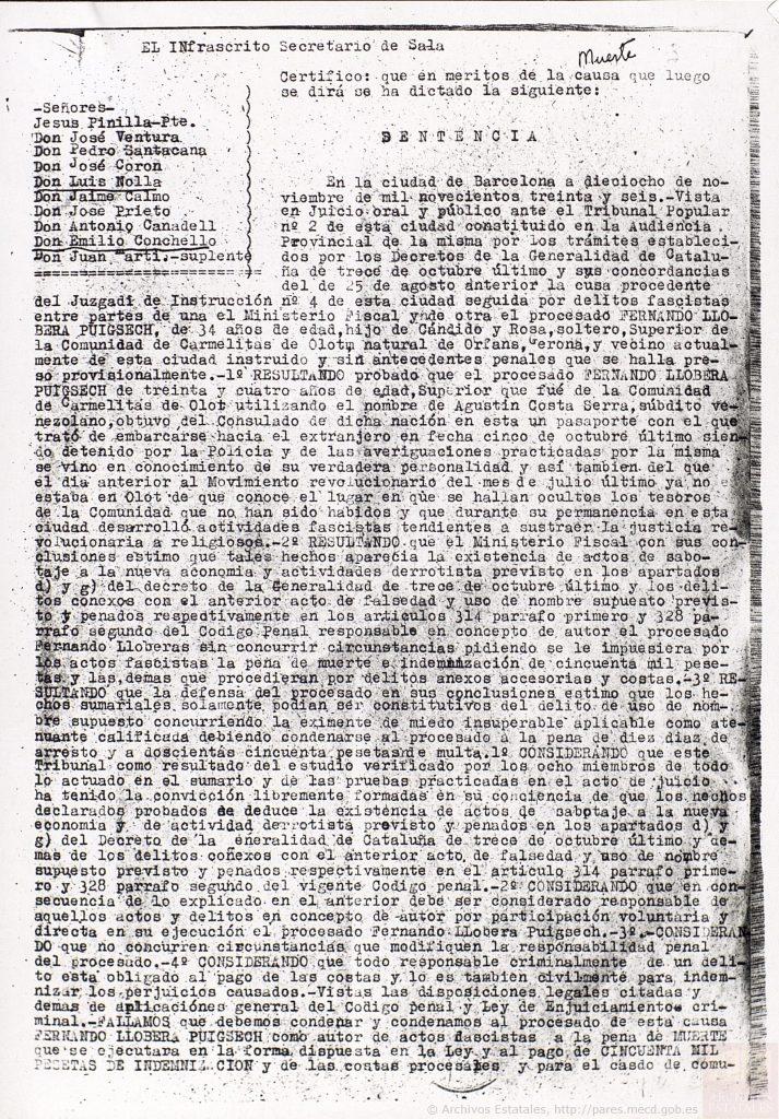 Condena a muerte de Fernando Llobera Puigsech.