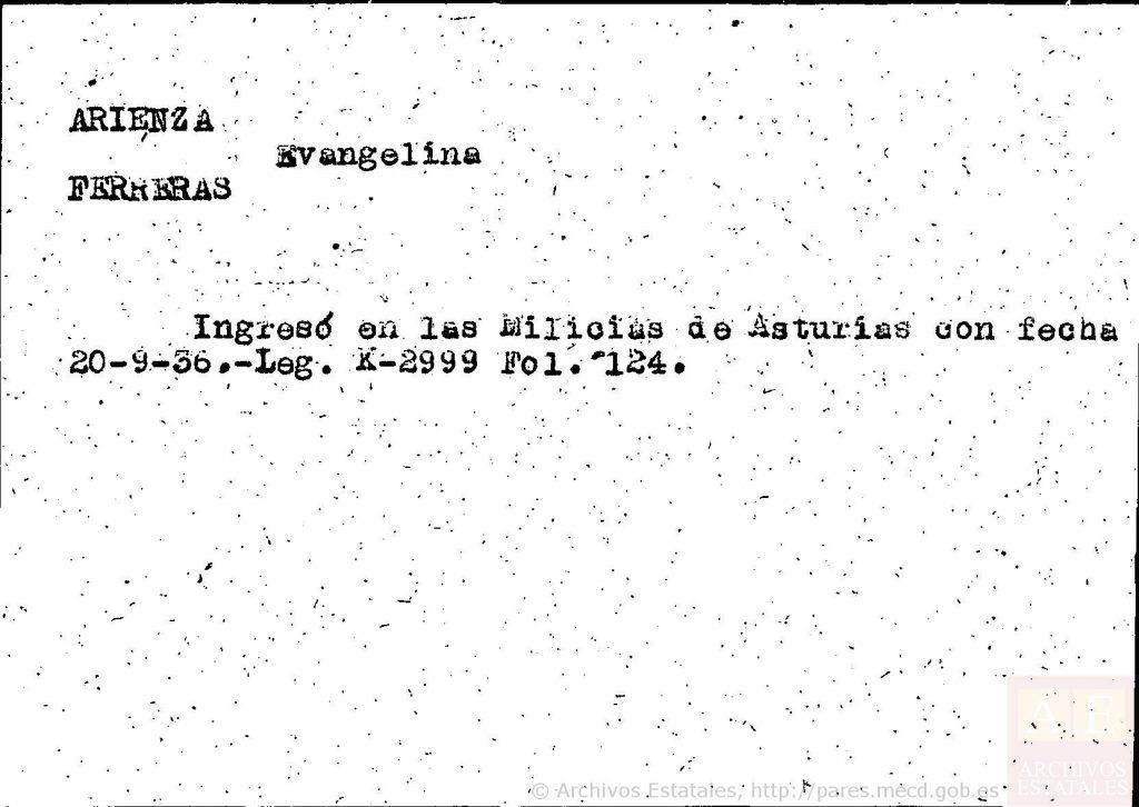 Ficha de Evangelina Arienza.