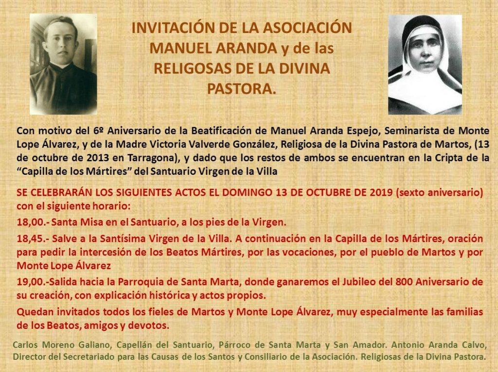 Misa en honor de los mártires beatificados en 2013, en Martos (Jaén).