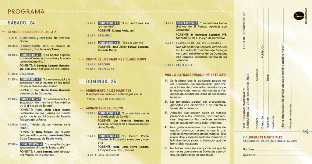 Programa de las VIII Jornadas Martiriales.