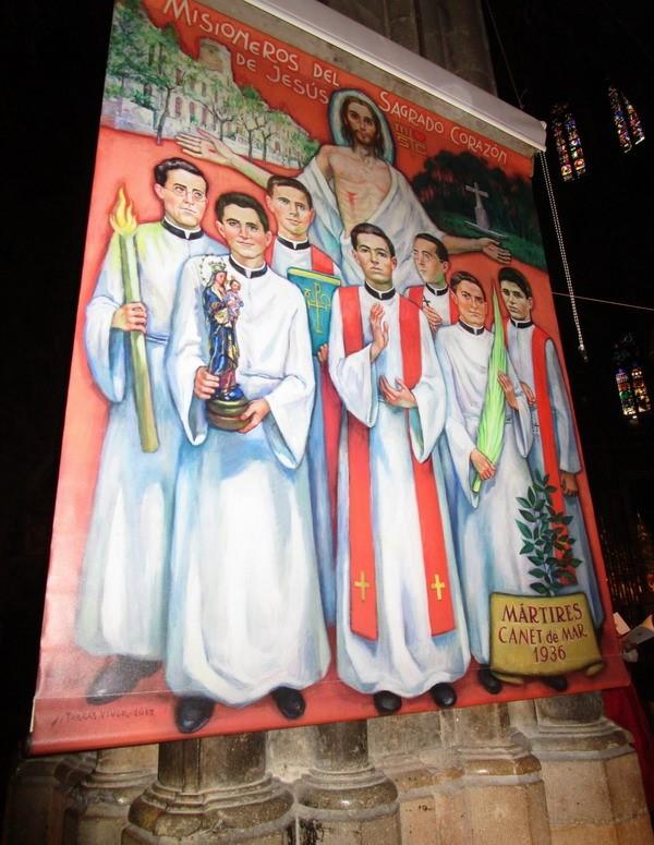 Cuadro del pintor Joan Torras Viver sobre los siete misioneros del Sagrado Corazón mártires beatificados el 6 de mayo de 2017.