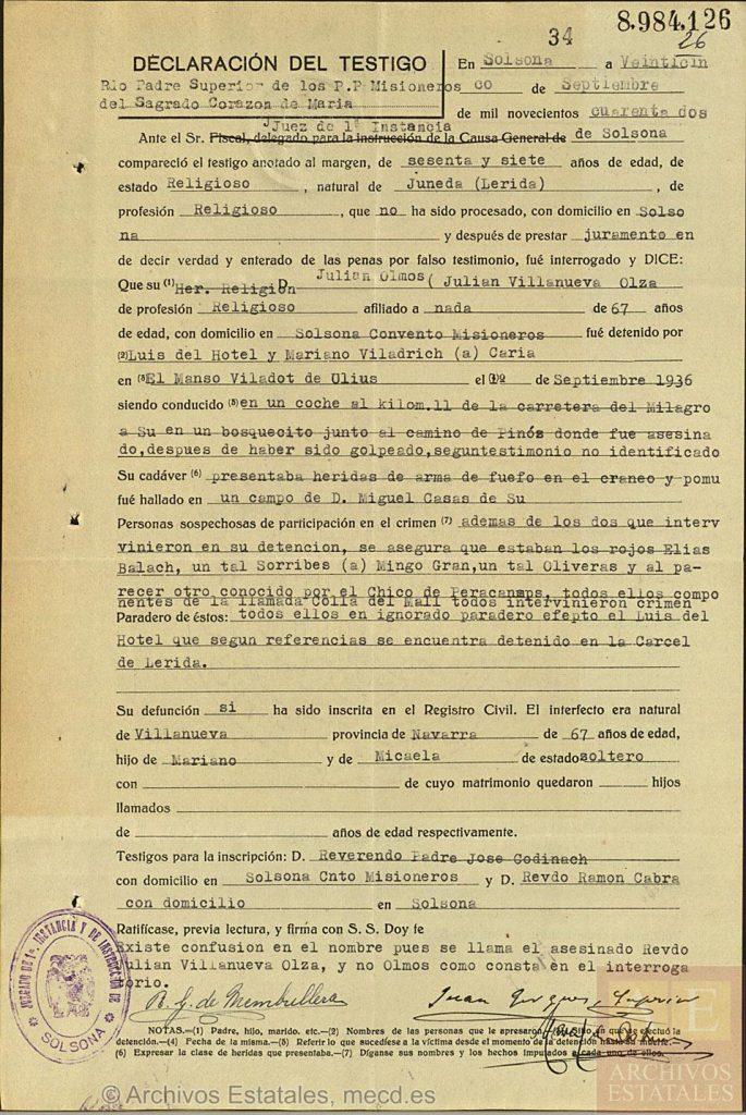 Declaración sobre el martirio de Julián Villanueva en la Causa General, legajo 1466, expediente 23, folio 34.