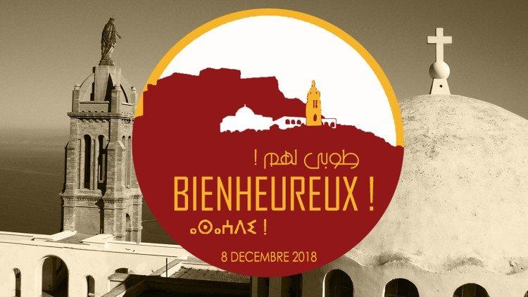 Cartel de la beatificación de Orán (Argelia) 8 de diciembre de 2018.