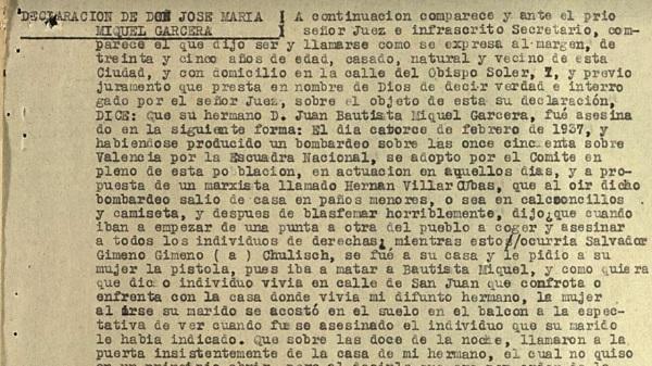 Declaración de un testigo sobre los asesinatos del 14 de febrero de 1937 en Manises.