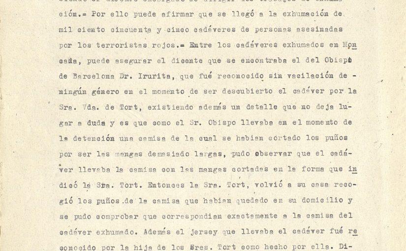 Testimonio de Miguel Torrens Roig sobre la identificación del cadáver de Irurita.
