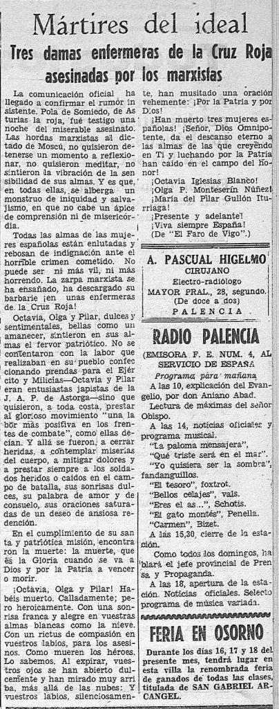 Noticia en Día de Palencia, 13 de marzo de 1937, p. 3.