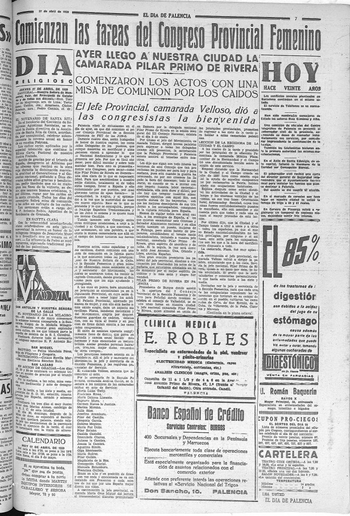 Noticia en Día de Palencia, 27 de abril de 1939, p. 7, donde FET-JONS (creada en abril de 1937) incluye entre sus caídos a las tres enfermeras.