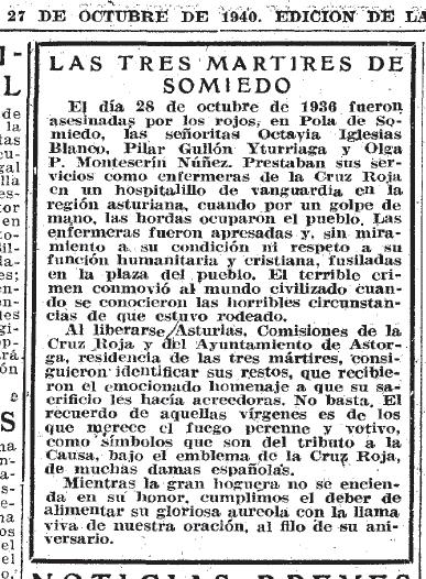 Mención de las tres enfermeras en ABC, 27 de octubre de 1940, p. 11.